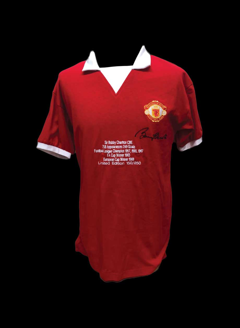 Sir Bobby Charlton Signed Manchester United embroidered Limited Edition  Shirt 454a51a39