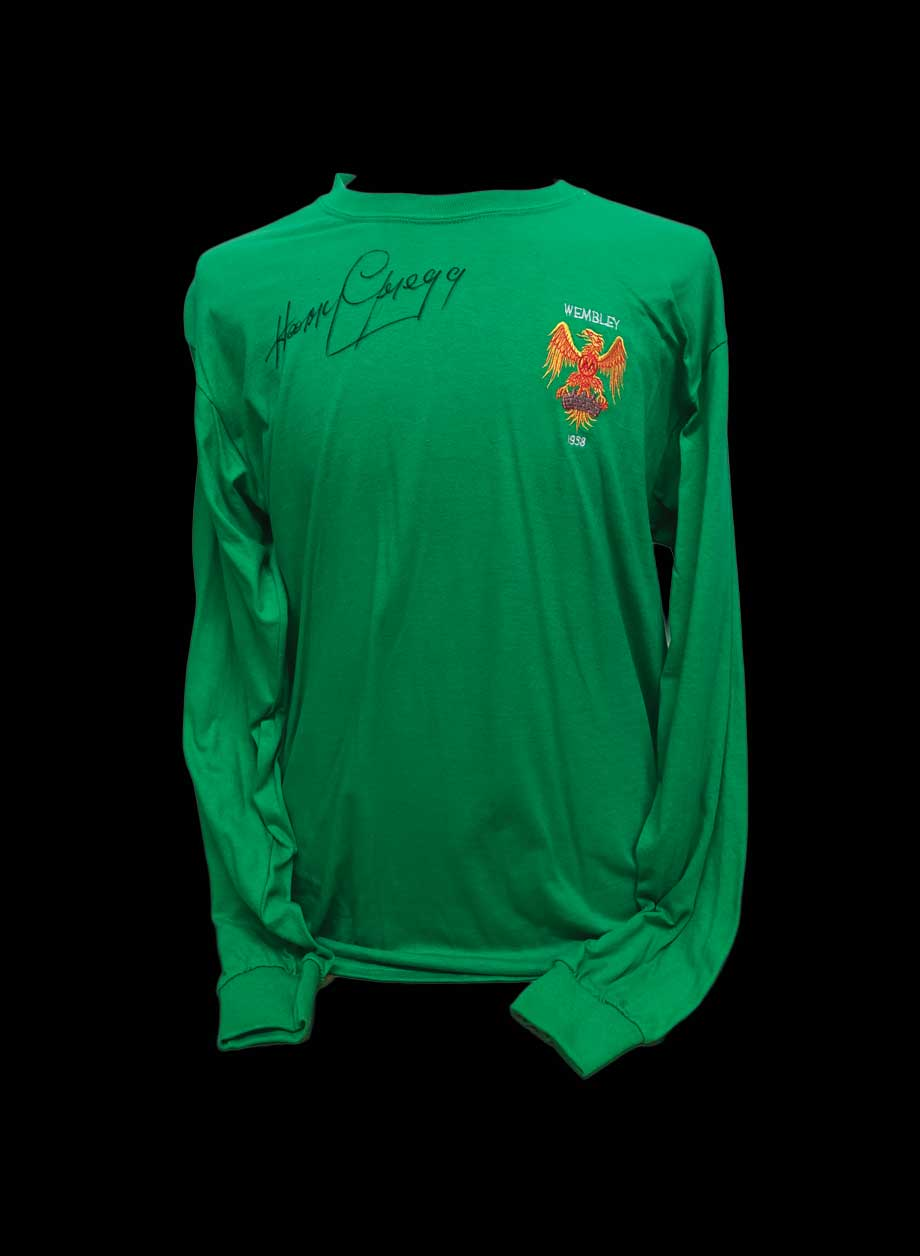 2c8e3e0abae Harry Gregg signed 1958 FA Cup Final retro shirt. - All Star Signings