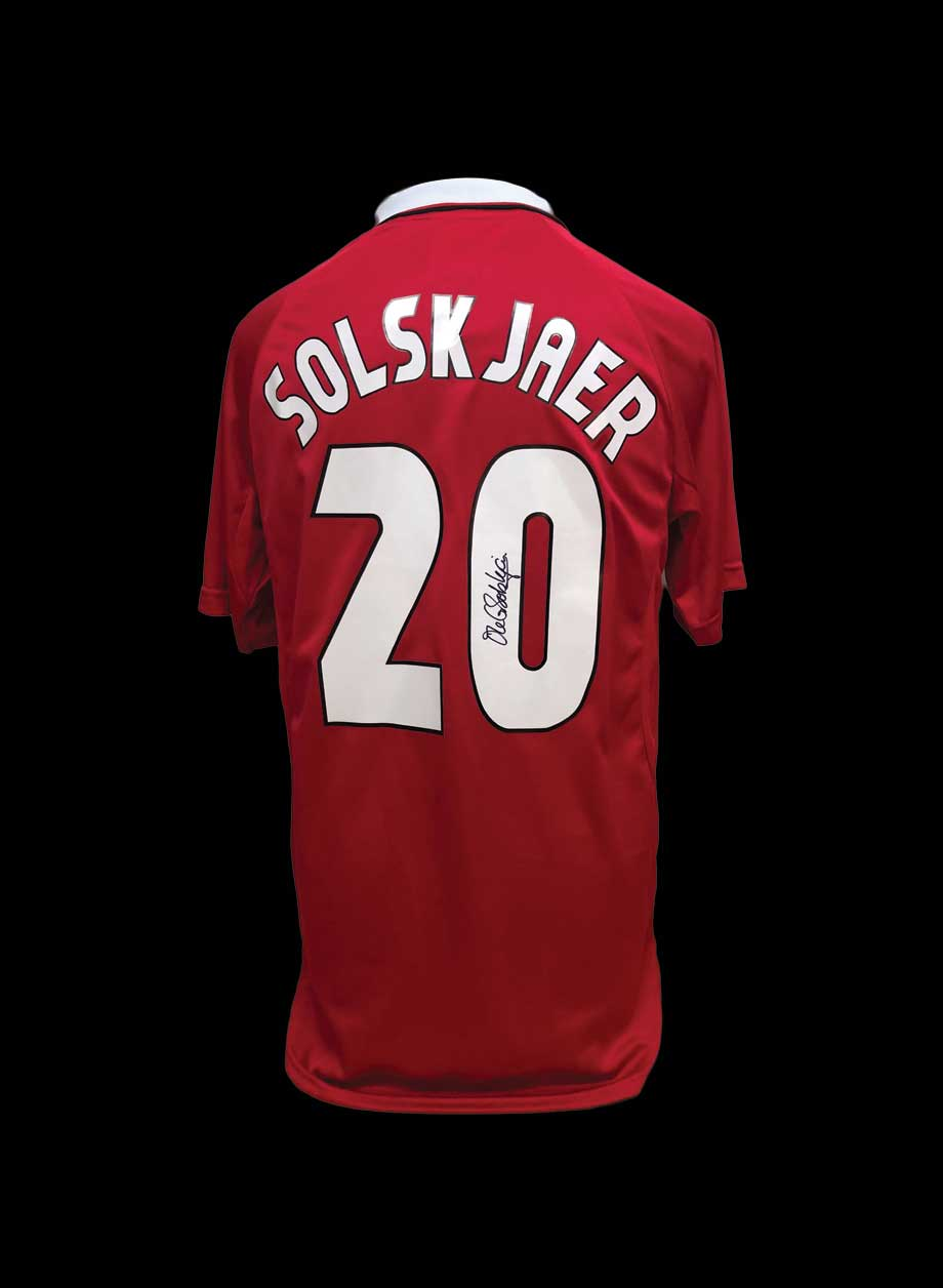 new product 01426 0c43d Ole Gunnar Solskjaer signed #20 Manchester United 1999 Shirt.