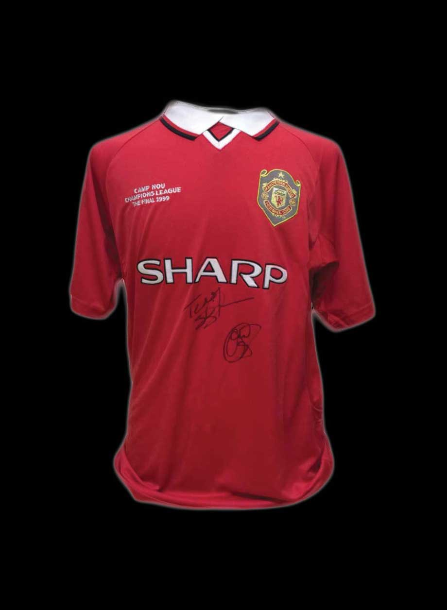 check out 32991 47b3f Solskjaer & Sheringham dual signed Manchester United 1999 Shirt